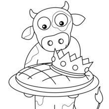 Coloriage : Une vache et sa galette des Rois