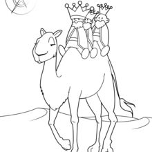 Coloriage : Les Rois mages sur leur chameau