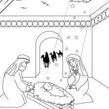 Coloriage : L'arrivée des Rois mages dans la crèche