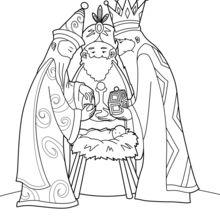 Coloriage : Les Rois mages et l'enfant Jésus