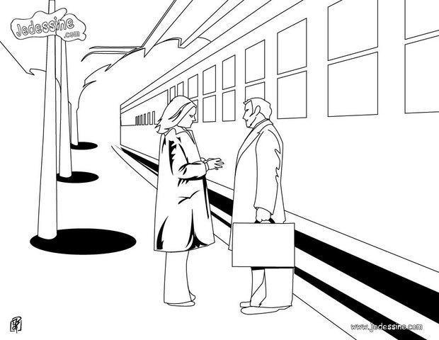 Coloriage d'un quai de gare