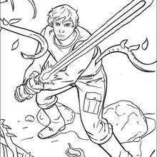 Coloriage STAR WARS de Luke sur Dagobah
