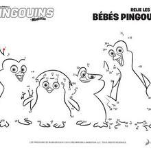 Jeu de points à relier : Les pingouins de Madagascar
