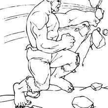 Coloriage de Hulk qui défonce un mur