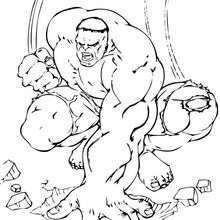 Coloriage de Hulk très enerve