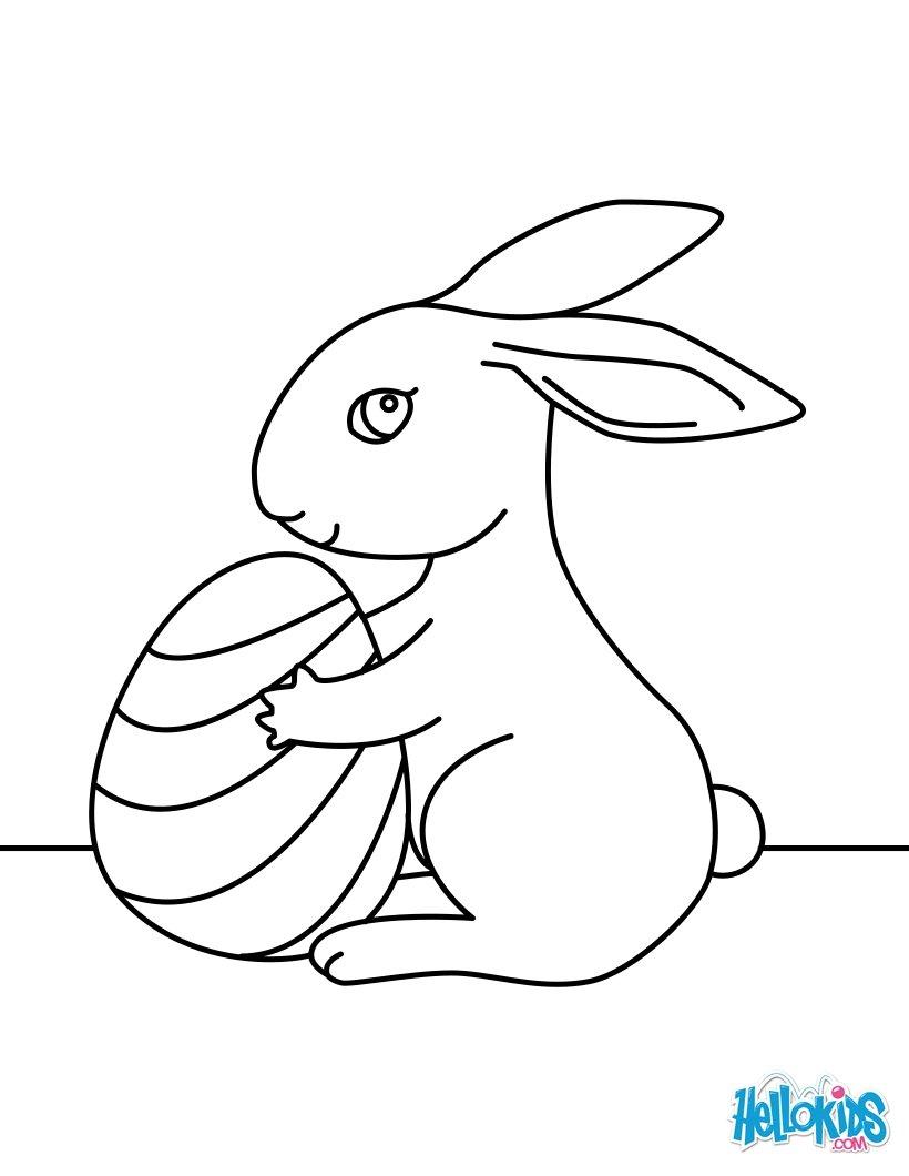 Coloriages mignon petit lapin de p ques - Dessin de paques facile ...