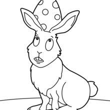 Coloriage : Grand lapin de Pâques et oeuf
