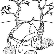 Coloriage : Lapin de Pâques endormi