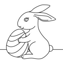 Coloriage : Mignon petit lapin de Pâques