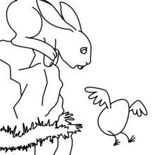 Coloriage : Lapin de Pâques et oeuf volant