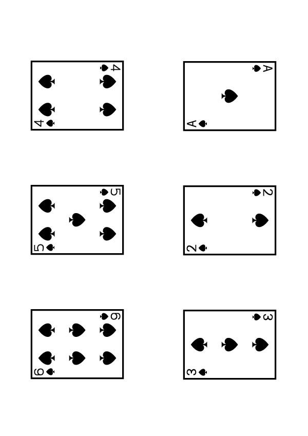 Cartes de trèfle 7 au roi