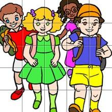 Puzzle d'un groupe d'élèves