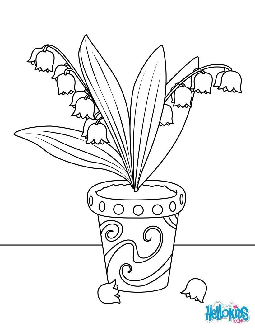 Coloriages pot de muguet - Muguet dessin ...