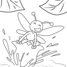 Coloriage : Abeille dans une fleur de muguet