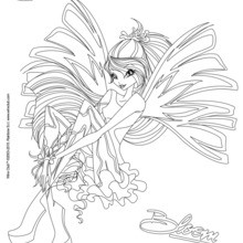Coloriage : Bloom, transformation Sirenix