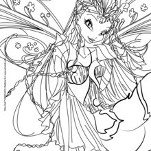 Coloriage : Flora, transformation Bloomix