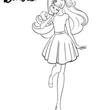 Coloriage Barbie : Barbie en promenade avec son chiot