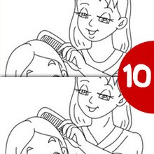 Jeu des différences : Maman coiffe sa fille
