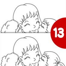 Jeu des différences : Maman embrasse ses enfants