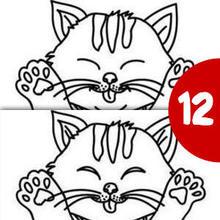 Jeu des différences : Petit chaton rayé et mignon