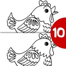 Jeu des différences : Poulette sur son gros oeuf