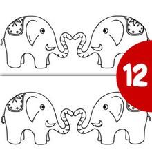 Jeu des différences : Couple d'éléphants