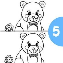 Jeu des différences : L'ourson et la fleur