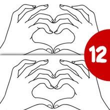 Jeu des différences : Mains en coeur