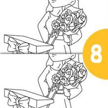 Jeu des différences : Maman reçoit un bouquet