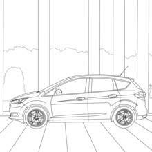 Coloriage : Ford C-max, vue de côté