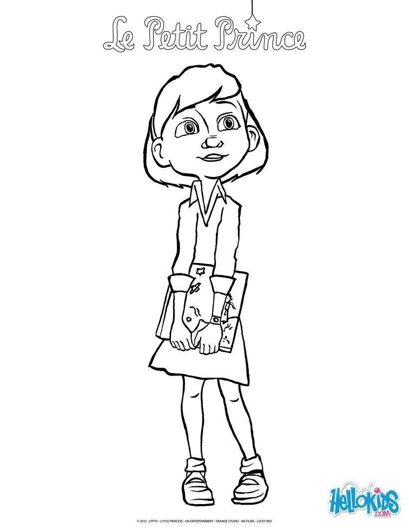 coloriages la petite fille et le livre du petit prince frhellokidscom - Dessin De Petite Fille