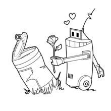 Coloriage : Robot amoureux