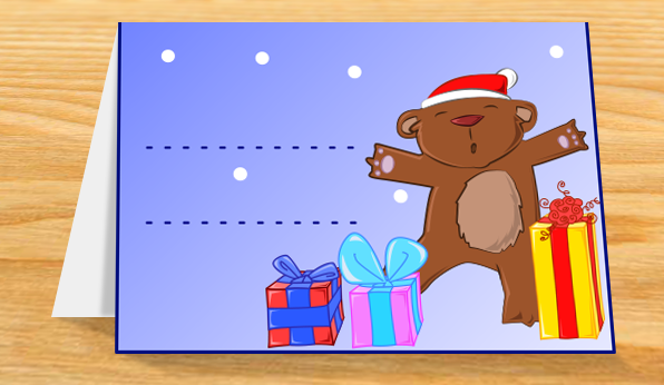 Activité : Carte ourson et sapin de Noël