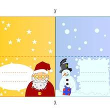 Activité : Etiquettes de table bonhomme de neige et Père Noël