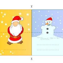 Activité : Etiquettes de table : Père Noël et bonhomme de neige
