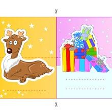 Etiquettes de table : Renne et cadeaux de Noël