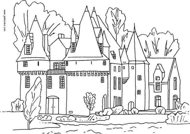 Coloriages un ch teau et ses douves - Chateau coloriage ...