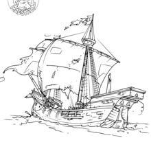 Coloriage : La Santa-Maria, caravelle de Christophe Colomb