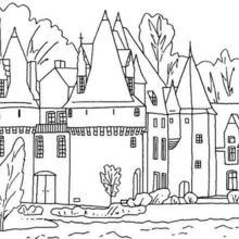 Coloriage : Un château et ses douves