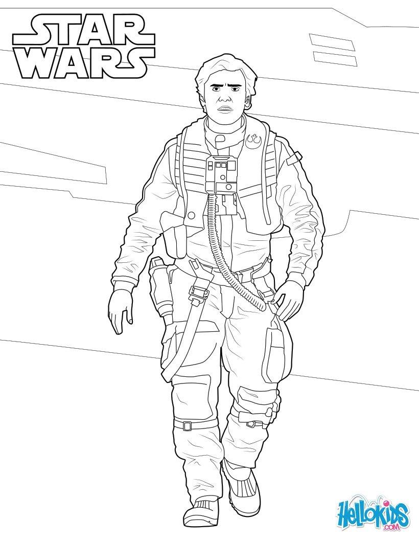Coloriage Star Wars : Poe Dameron - Le réveil de la force
