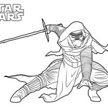 Coloriage Star Wars : Kylo Ren, le méchant de l'épisode 7
