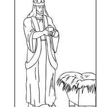 Coloriage : Melchior, Le Roi Mage barbu