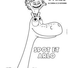 Coloriage Disney : Le Voyage d'Arlo - Spot et Arlo