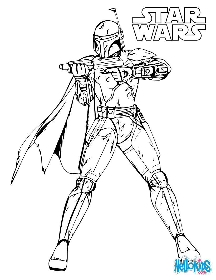 Coloriage Star Wars : Boba Fett