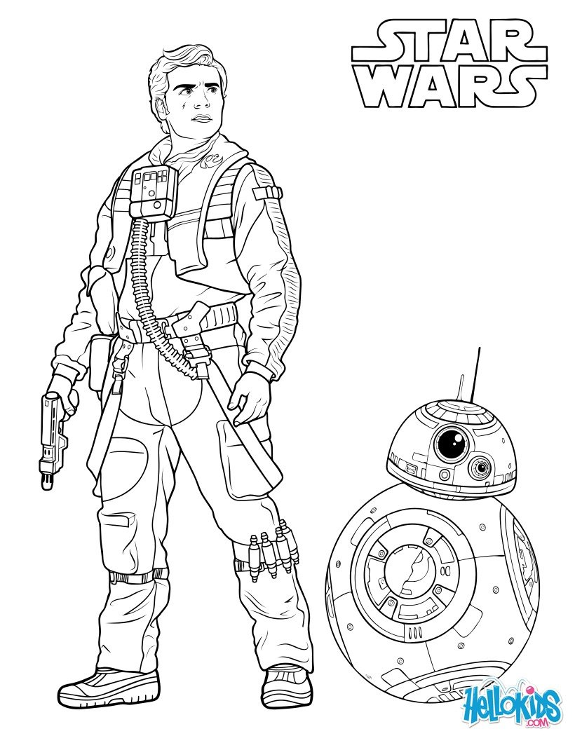 Coloriage Star Wars : Poe Dameron et BB8