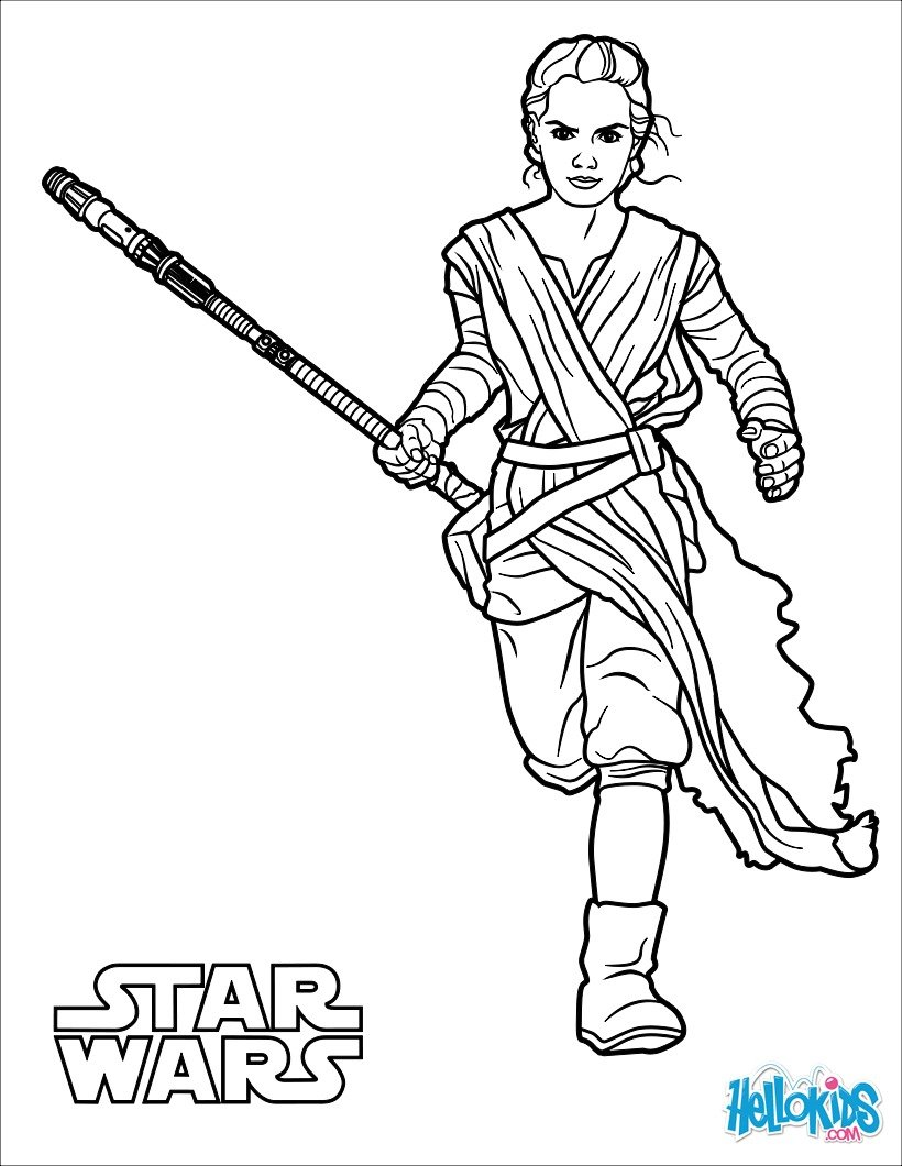 Coloriage Star Wars : Rey - Le réveil de la Force