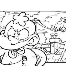 Coloriage : Super bébé sur les toits