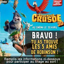 Gagnants de la chasse aux trésors ROBINSON CRUSOE
