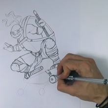 Dessiner Michelangelo des Ninja Turtles