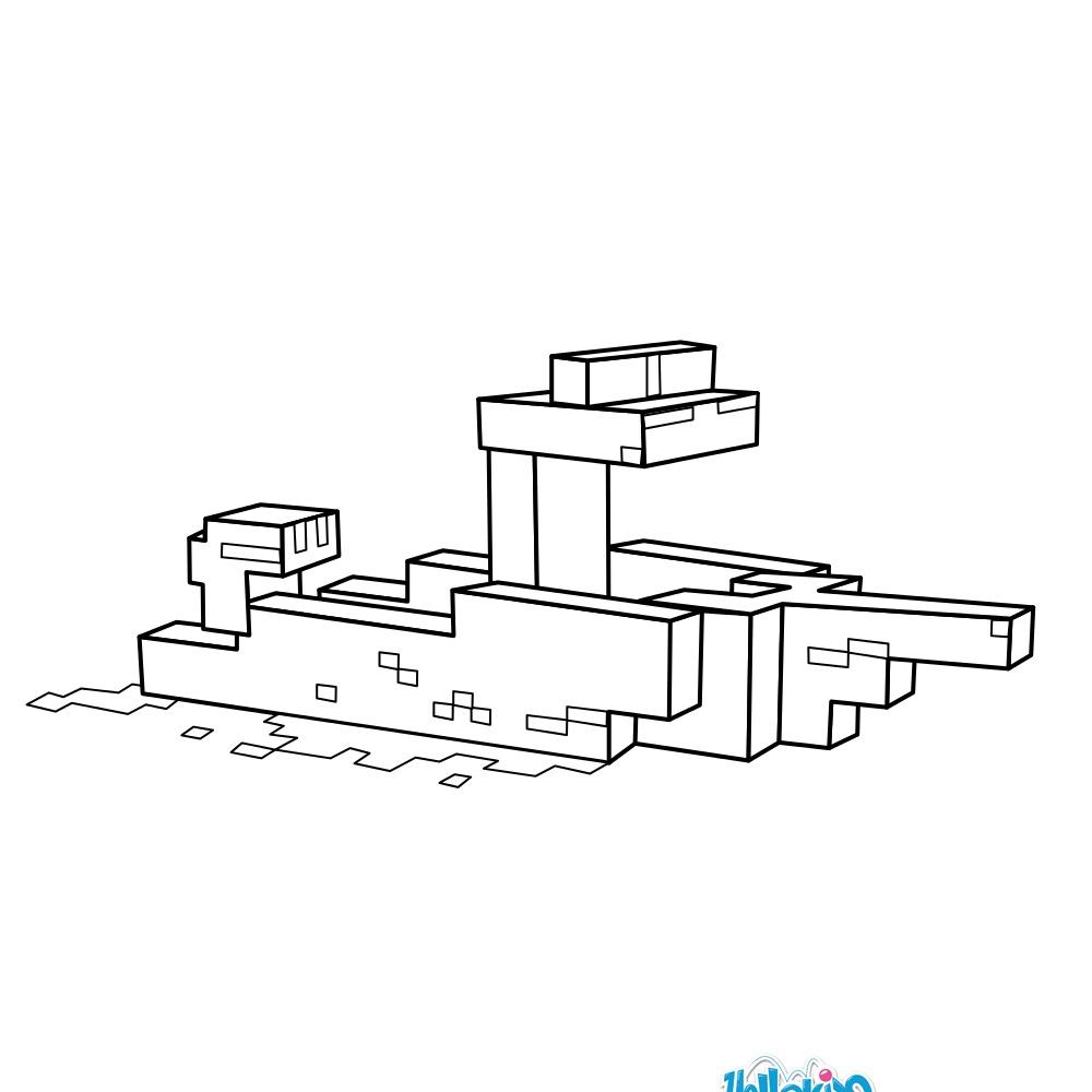 Coloriage : Un bateau dans Minecraft
